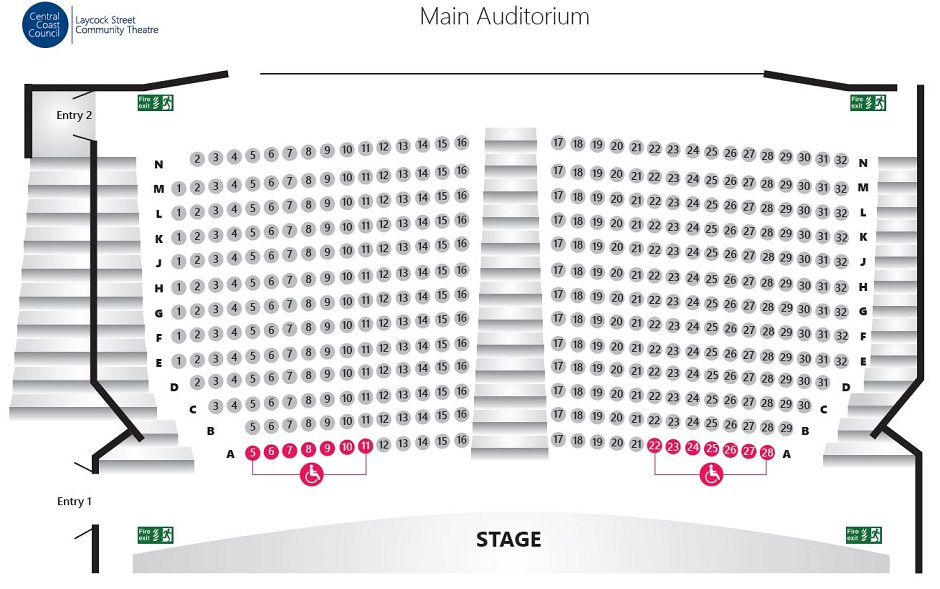 Laycock Theatre Seating Map