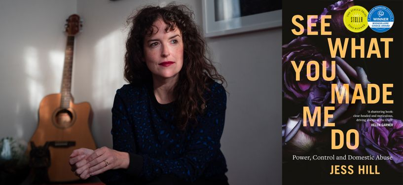 Head shot of Jess Hill and book cover of See What You Made Me Do