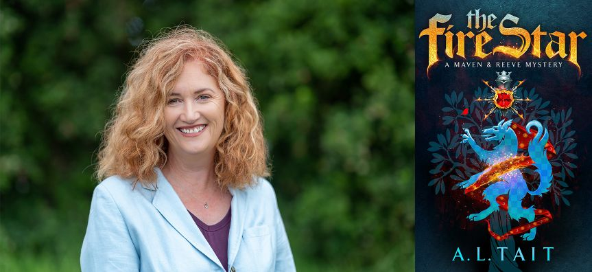 Head shot of Alison Tait and front cover of 'The Fire Star'