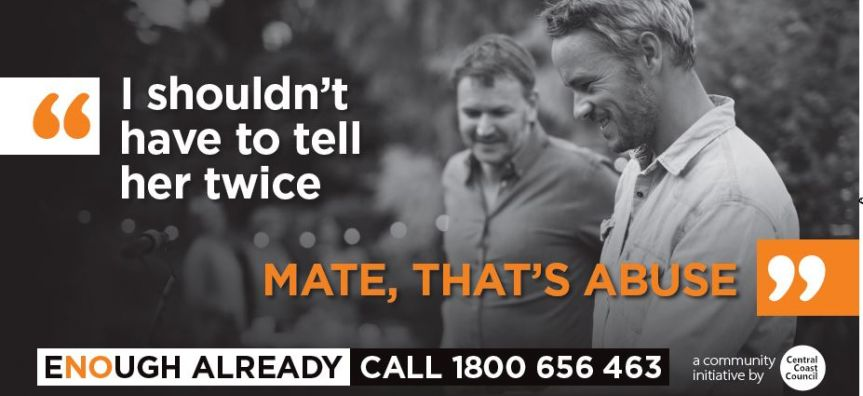 Men talking socially as part of Council Domestic Violence Campaign image called Enough Already
