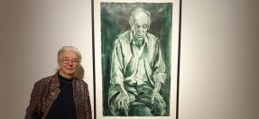 Jocelyn Maughan, with winning artwork 'Ken in Grisaille', oil on paper